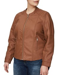 Junarose Faux Leather Stitch Design Jacket Brown