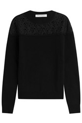 Philosophy Di Lorenzo Serafini Wool Pullover With Lace Crochet Top Black