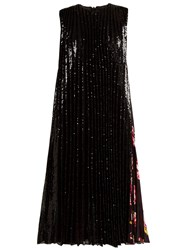 Msgm Sequinned Pleated Midi Dress Black