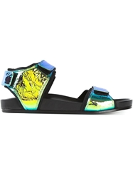 Christian Wijnants Iridescent Velcro Strap Sandals Black