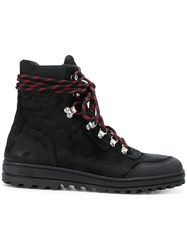 Off White Lace Up Boots Leather Rubber Black