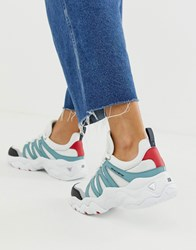 Skechers D'lite Chunky Trainers 3.0 Overlay In White And Blue