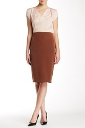 Insight Solid Pencil Skirt Brown