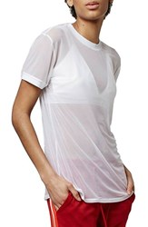 Topshop Women's Sheer Mesh Tee White