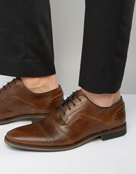 Dune Boycy Leather Derby Brogue Shoes Tan