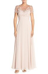Women's Js Collections Embellished Mesh And Chiffon Gown Blush