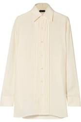 Tom Ford Pintucked Twill Shirt Cream