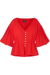 Mother Of Pearl Faux Embellished Lyocell Top Red