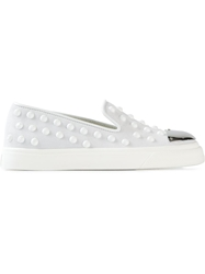 Giuseppe Zanotti Design Contrasted Toe Cap Slippers White