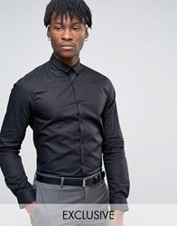 Noak Long Sleeve Shirt In Skinny Fit With Curved Hem Black