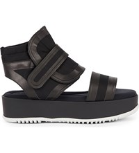 Marni Canvas And Rubber Wedge Sandals Black