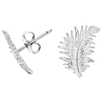 Dower And Hall Small Sterling Silver Feather Stud Earrings