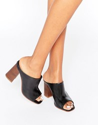 Asos Tania Leather Mules Black Leather
