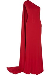Naeem Khan One Shoulder Stretch Jersey Gown Red