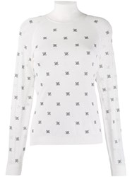 Fendi High Collar Pullover White