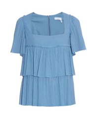 Sonia Rykiel Square Neck Pleated Cotton Top Light Blue