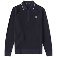 Fred Perry Long Sleeve Waffle Knit Polo Blue