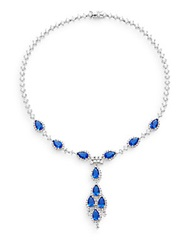 Cz By Kenneth Jay Lane Classic Pear Stone Y Necklace Silvertone Blue