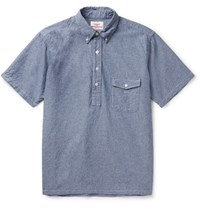 Battenwear Slim Fit Half Placket Cotton Chambray Shirt Blue