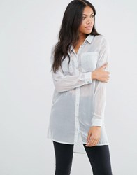 Vila Oversized Shirt With Pocket Detail High Rise Silver