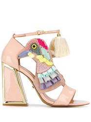 Kat Maconie Bird Multi Studded Heeled Sandals Neutrals