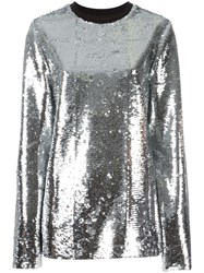 Msgm Metallic Grey Sequinned Blouse