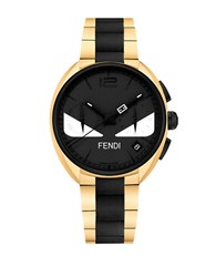 Fendi Momento Bugs Goldtone Stainless Steel Link Bracelet Watch Two Tone