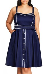 City Chic Plus Size Women's Darling Contrast Piped Fit And Flare Sundress Navy