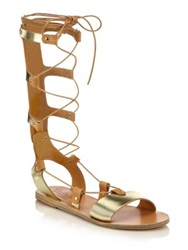 Ancient Greek Sandals Thebes Metallic Leather Gladiator Sandals Gold