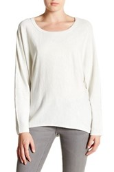 H By Bordeaux Long Sleeve Exposed Seam Dolman Tee White