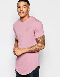 Sik Silk Siksilk Longline Burnout T Shirt With Curved Hem Pink