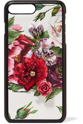 Dolce And Gabbana Embellished Floral Print Textured Leather Iphone 7 8 Plus Case White
