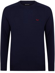 Wolsey Merino Plain Crew Neck Pull Over Jumpers Total Eclipse
