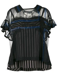 Sacai Stripe Layered Camisole Blouse Women Nylon Polyester Cupro L Blue