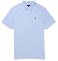 Polo Ralph Lauren Slim Fit Button Down Collar Cotton Pique Shirt Blue
