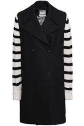 Each X Other Woman Striped Cashmere Paneled Wool Coat Black