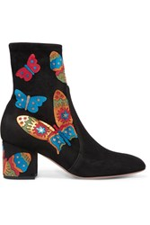 Valentino Appliqued Stretch Suede Ankle Boots Black