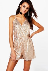 Boohoo Boutique Ria All Over Sequin Cami Playsuit Champagne