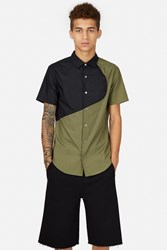 Opening Ceremony Color Blocked Short Sleeve Button Down Army Green Multi