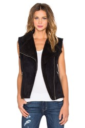 Velvet By Graham And Spencer Anila Sherpa Moto Vest Black