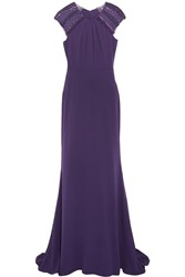 Badgley Mischka Embellished Tulle Paneled Crepe Gown Purple