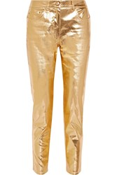 Moschino Metallic Coated Mid Rise Straight Leg Jeans