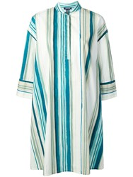 Woolrich Striped Printed A Line Dress Blue