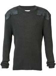 Maison Martin Margiela Rib Pullover With Shoulder Patches Black
