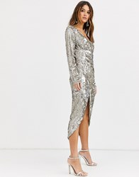 Tfnc Long Sleeve Sequin Wrap Midi Dress With Front Drape Details In Silver And Gold Multi