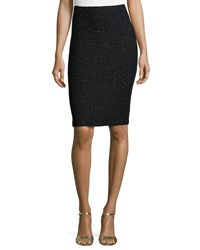St. John Speckled Knit Pencil Skirt Black Pattern
