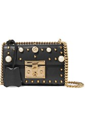 Gucci Padlock Small Faux Pearl Embellished Studded Leather Shoulder Bag Black