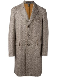 Jacob Cohen Herringbone Pattern Mid Coat White