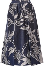 Suno Pleated Brocade Midi Skirt Midnight Blue