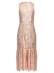 Rebecca Taylor Arella Open Back Cotton Lace Dress Pink